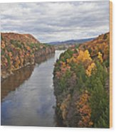 Autumn Foliage Scenery Viewed From French King Bridge Wood Print