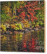 Autumn Forest And River Landscape Wood Print
