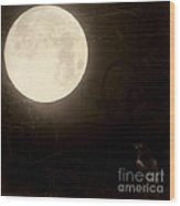 Autumn Full Moon Wood Print