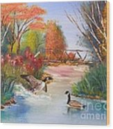 Autumn Geese Wood Print by Crispin  Delgado
