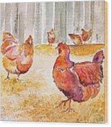 Autumn Hens Wood Print