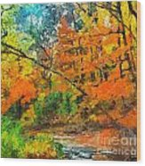 Autumn In The Forest Wood Print