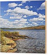 Autumn Lake Shore Wood Print