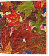 Autumn Leaves Collage Wood Print