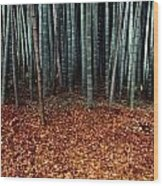 Autumn Leaves Litter The Ground Wood Print