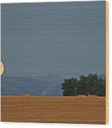 Autumn Moonrise Over Montana's Bridger Mountains Wood Print