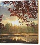 Autumn Morning At Harvard Pond Wood Print