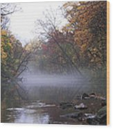 Autumn Morning On The Wissahickon Wood Print
