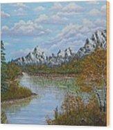 Autumn Mountains Lake Landscape Wood Print