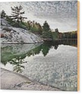Autumn Nature Lake Rocks And Trees Wood Print