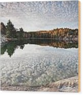 Autumn Nature Lake Rocks And Trees Panorama Wood Print