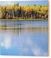 Autumn On Chena Lake Wood Print