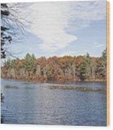 Autumn On Mill Pond Wood Print