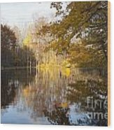 Autumn Pond In Harbor Country Wood Print