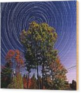 Autumn Star Trails In New Hampshire Wood Print by Larry Landolfi