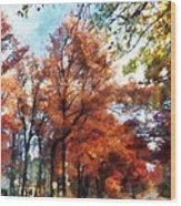 Autumn Street Perspective Wood Print