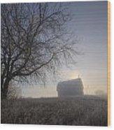 Autumn Sunrise Over Barn On A Farm Wood Print