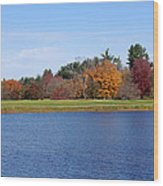 Autumn Trees By The Lake Wood Print
