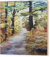 Autumn Walk In The Woods Wood Print