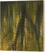 Autumn Water Reflection Abstract I Wood Print