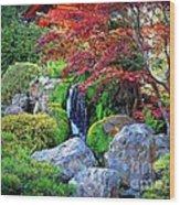 Autumn Waterfall - Digital Art Wood Print