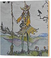 Autumn Witch Wood Print
