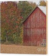 Autumnal Barn Wood Print