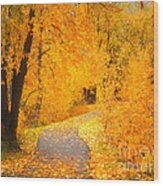 Autumn's Golden Corner Wood Print