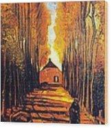 Avenue At Poplars Wood Print