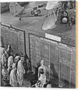 Aviation Cadets Check Flight Boards Wood Print