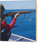 Aviation Ordnanceman Fires An M-14 Wood Print
