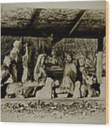 Away In The Manger Wood Print