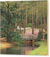 Azaleas And Footbridge Wood Print