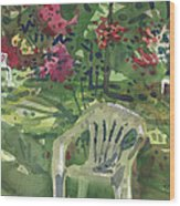 Azaleas And Lawn Chairs Wood Print