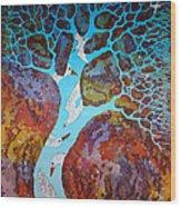 Azure Tree Wood Print