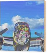 B-25j Jazzed Wood Print by Lynda Dawson-Youngclaus