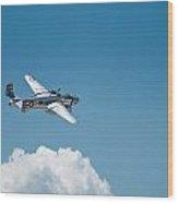 B25 Mitchell Bomber - Making The Turn Wood Print