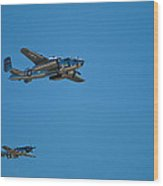 B25 Mitchell Bomber With Corsair Mustang Fighter Escort Wood Print