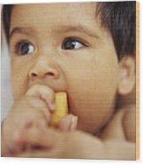 Baby Boy Eating Wood Print by Ian Boddy