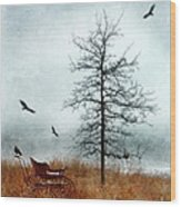 Baby Buggy By Tree With Nest And Birds Wood Print by Jill Battaglia