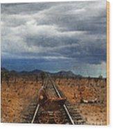 Baby Buggy On Railroad Tracks Wood Print