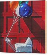 Baby Buggy With Balloons  Wood Print