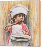 Baby Cook With Chocolade Cream Wood Print