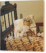 Baby Doll In Crib Wood Print
