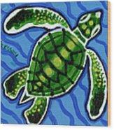Baby Green Sea Turtle Wood Print