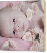 Baby In Bed Of Roses Wood Print