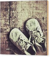 Baby Shoes On Wood Wood Print