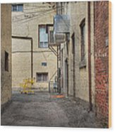 Back Alley Cityscape Wood Print