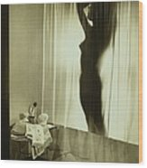 Back-lit Silhouette Of Nude Woman Wood Print
