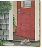 Backdoor Visitors Three  Wood Print by Lin Ruch